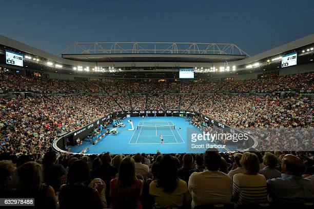 A general view of Rod Laver Arena as Roger Federer of Switzerland serves in his Men's Final match against Rafael Nadal of Spain on day 14 of the 2017...