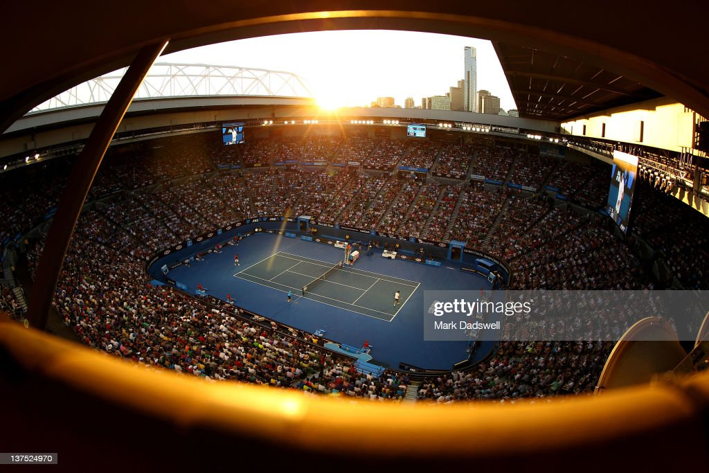 A general view of Rod Laver Arena during the fourth round match between Bernard Tomic of Australia and <a gi-track='captionPersonalityLinkClicked' href=/galleries/search?phrase=Roger+Federer&family=editorial&specificpeople=157480 ng-click='$event.stopPropagation()'>Roger Federer</a> of Switzerland during day seven of the 2012 Australian Open at Melbourne Park on January 22, 2012 in Melbourne, Australia.