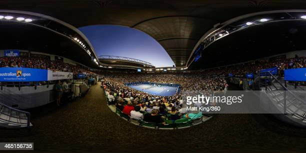 A general view of Rod Laver Arena during the men's final match between Rafael Nadal of Spain and Stanislas Wawrinka of Switzerland on day 14 of the...