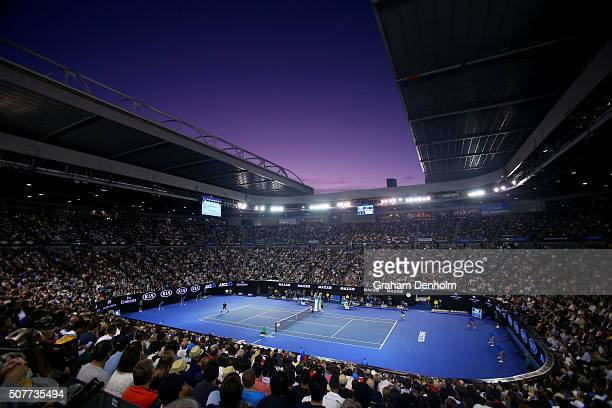 A general view of Rod Laver Arena during the Men's Final match between Andy Murray of Great Britain and Novak Djokovic of Serbia on day 14 of the...