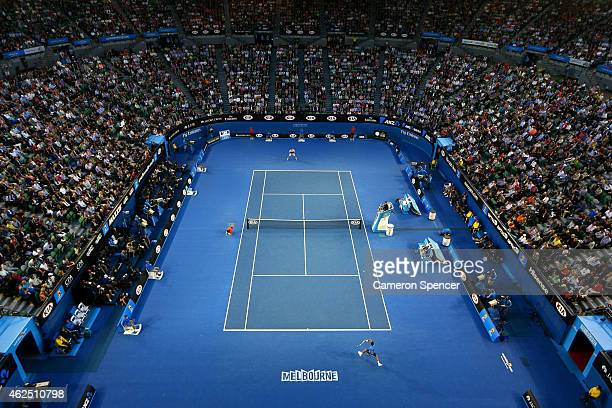 A general view of Rod Laver Arena during the mens semifinal match during day 12 of the 2015 Australian Open at Melbourne Park on January 30 2015 in...
