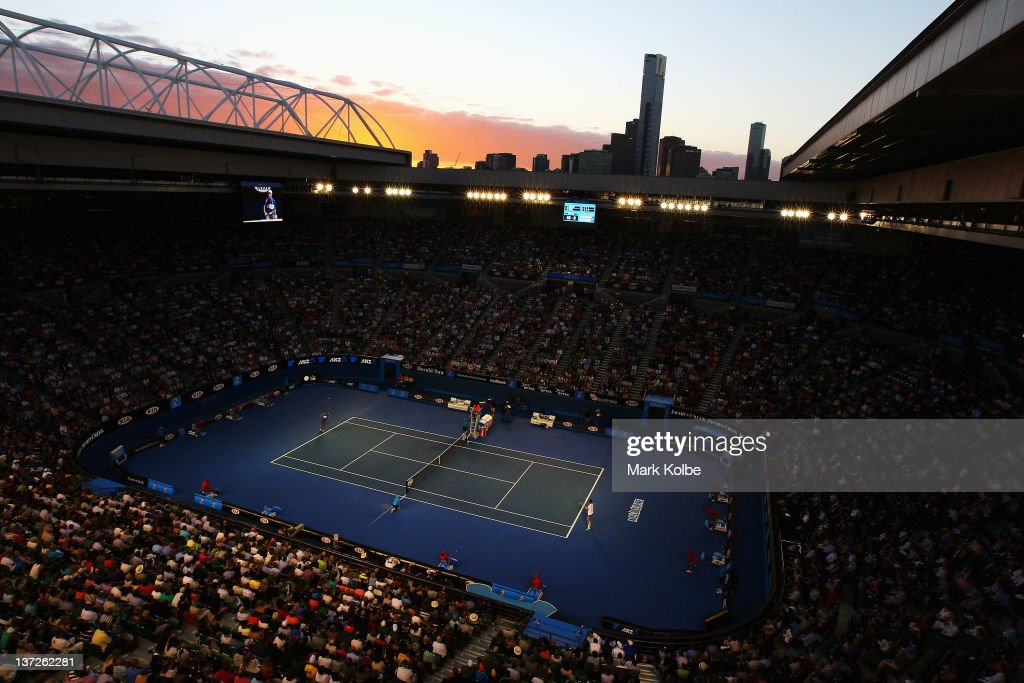 A general view of Rod Laver Arena during the second round match between Bernard Tomic of Australia and Sam Querrey of the United States during day three of the 2012 Australian Open at Melbourne Park on January 18, 2012 in Melbourne, Australia.