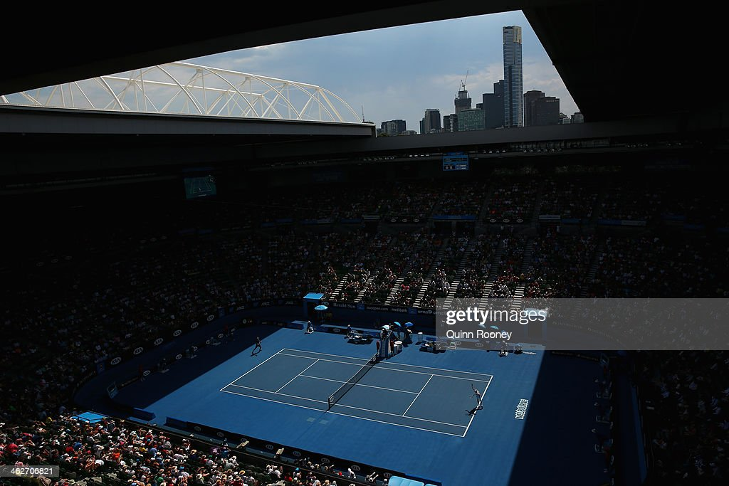 General view of Rod Laver Arena during the second round match between Novak Djokovic of Serbia and Leonardo Mayer of Argentina during day three of...