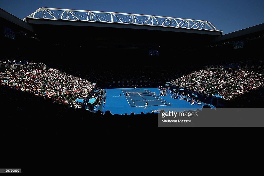 A general view of Rod Laver Arena in the fourth round match between David Ferrer of of Spain and Kei Nishikori of Japan during day seven of the 2013 Australian Open at Melbourne Park on January 20, 2013 in Melbourne, Australia.