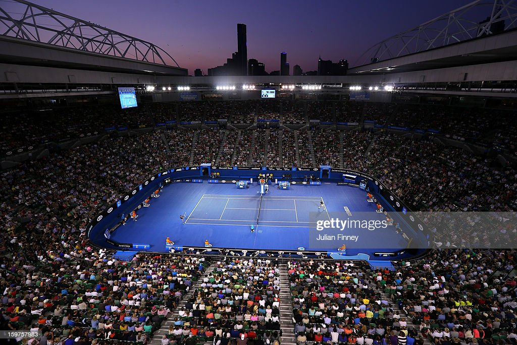 A general view of Rod Laver Arena in the fourth round match between Novak Djokovic of Serbia and Stanislas Wawrinka of Switzerland during day seven...