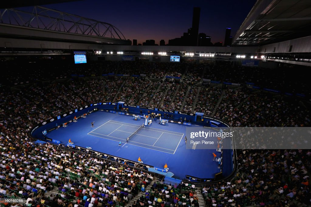 A general view of Rod Laver Arena in the mens final between Andy Murray of Great Britain and Novak Djokovic of Serbia during day fourteen of the 2013...