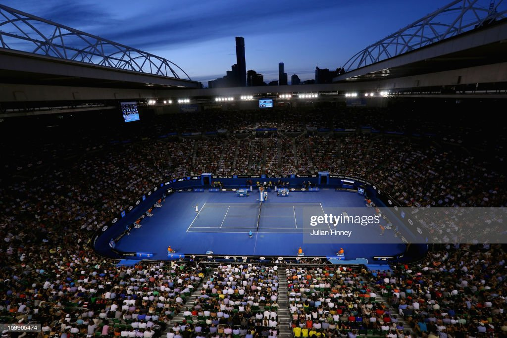 General view of Rod Laver Arena in the Semifinal match between Novak Djokovic of Serbia and David Ferrer of Spain during day eleven of the 2013...