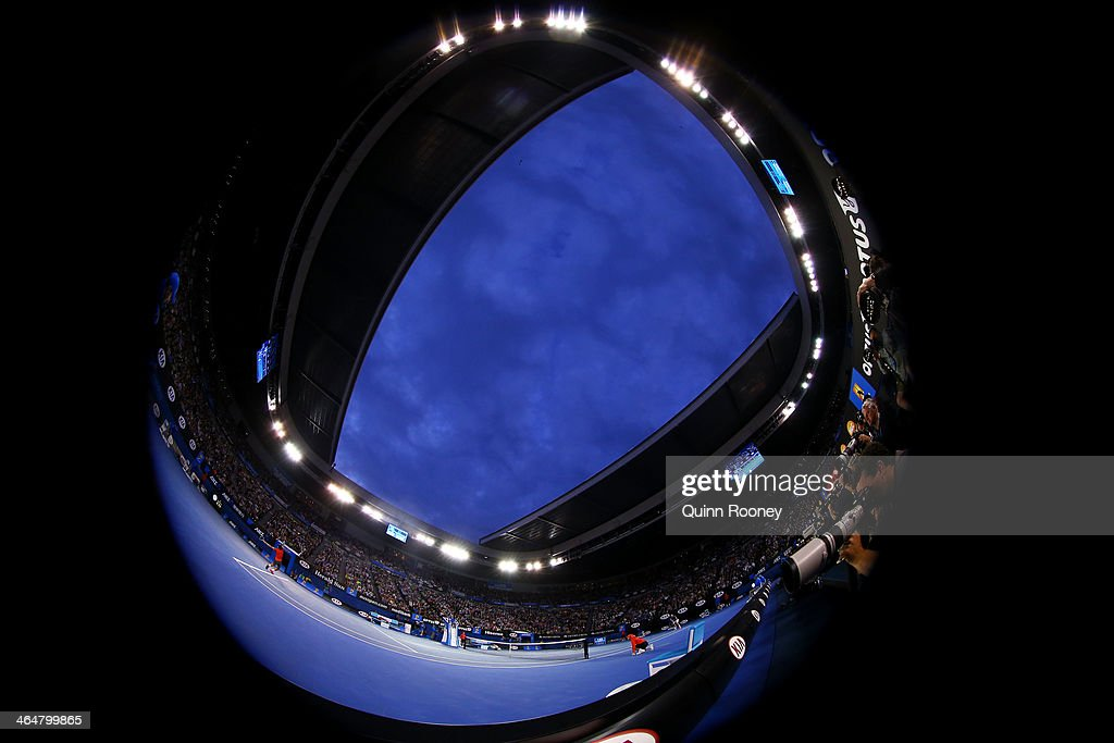 A general view of Rod Laver Arena in the semifinal match between Roger Federer of Switzerland and Rafael Nadal of Spain during day 12 of the 2014...