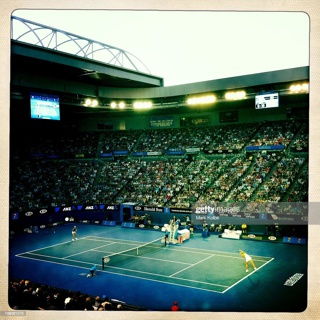 A general view of Rod Laver Arena in the women's final match between <a gi-track='captionPersonalityLinkClicked' href=/galleries/search?phrase=Maria+Sharapova&family=editorial&specificpeople=157600 ng-click='$event.stopPropagation()'>Maria Sharapova</a> of Russia and <a gi-track='captionPersonalityLinkClicked' href=/galleries/search?phrase=Victoria+Azarenka&family=editorial&specificpeople=604872 ng-click='$event.stopPropagation()'>Victoria Azarenka</a> of Belarus during day thirteen of the 2012 Australian Open at Melbourne Park on January 28, 2012 in Melbourne, Australia.