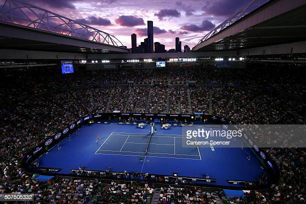 A general view of Rod Laver Arena in the Women's Final match between Serena Williams of the United States and Angelique Kerber of Germany during day...
