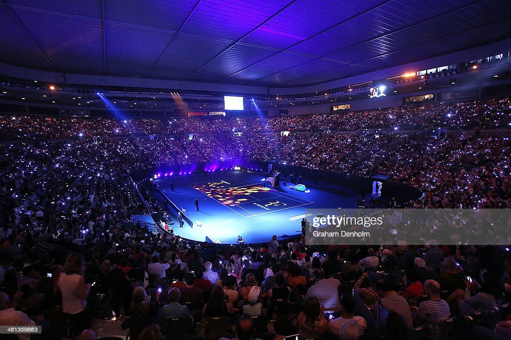 A general view of Rod Laver Arena prior to the Roger Federer Charity match at Melbourne Park on January 8 2014 in Melbourne Australia