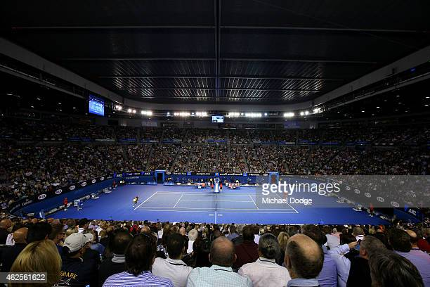 A general view of Rod Laver Arena with the roof closed as Maria Sharapova of Russia serves in her women's final match against Serena Williams of the...
