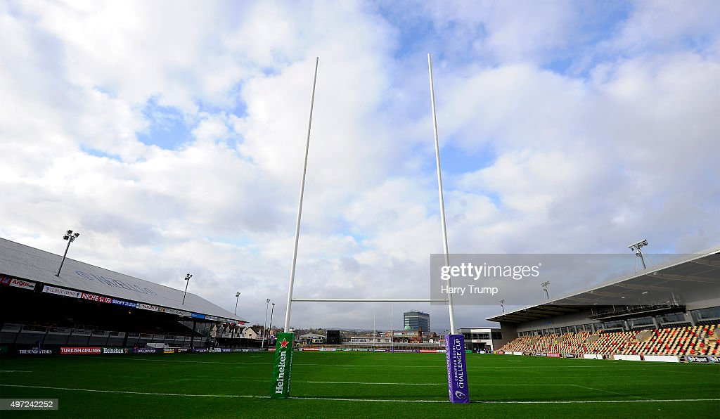 General view of Rodney Parade during the European Rugby Challenge Cup match between Newport Gwent Dragons and Sale Sharks at Rodney Parade on...