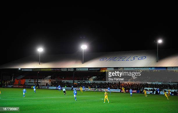 General view of Rodney Parade during the Johnstone's Paint Trophy southern section quarter final game between Newport County AFC and Portsmouth at...