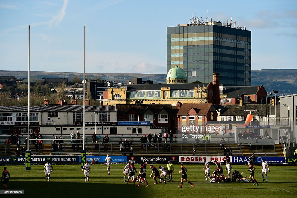 A general view of Rodney Parade during the LV= Cup group match between Newport Gwent Dragons and Exeter Chiefs on February 1 2015 in Newport Wales