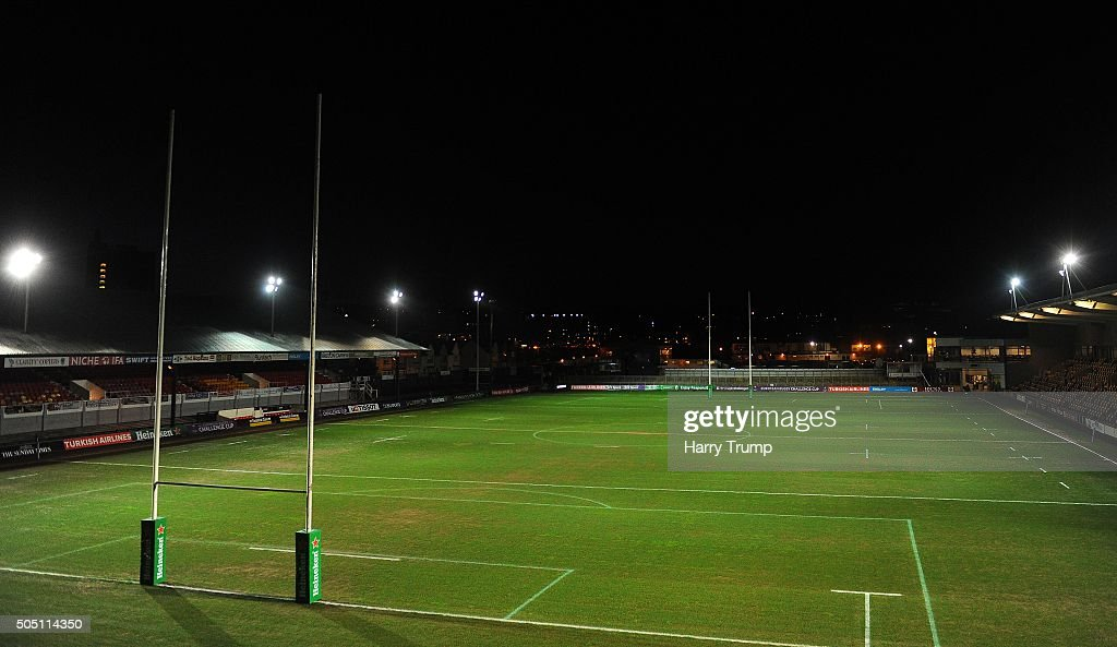 General view of Rodney Parade prior to kick off during the European Rugby Challenge Cup match between Newport Gwent Dragons and Castres Olympique at...