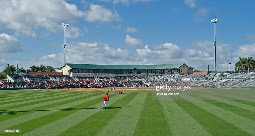 A general view of Roger Dean Stadium prior to the spring training game between the St Louis Cardinals and the Minnesota Twins on March 14 2015 in...