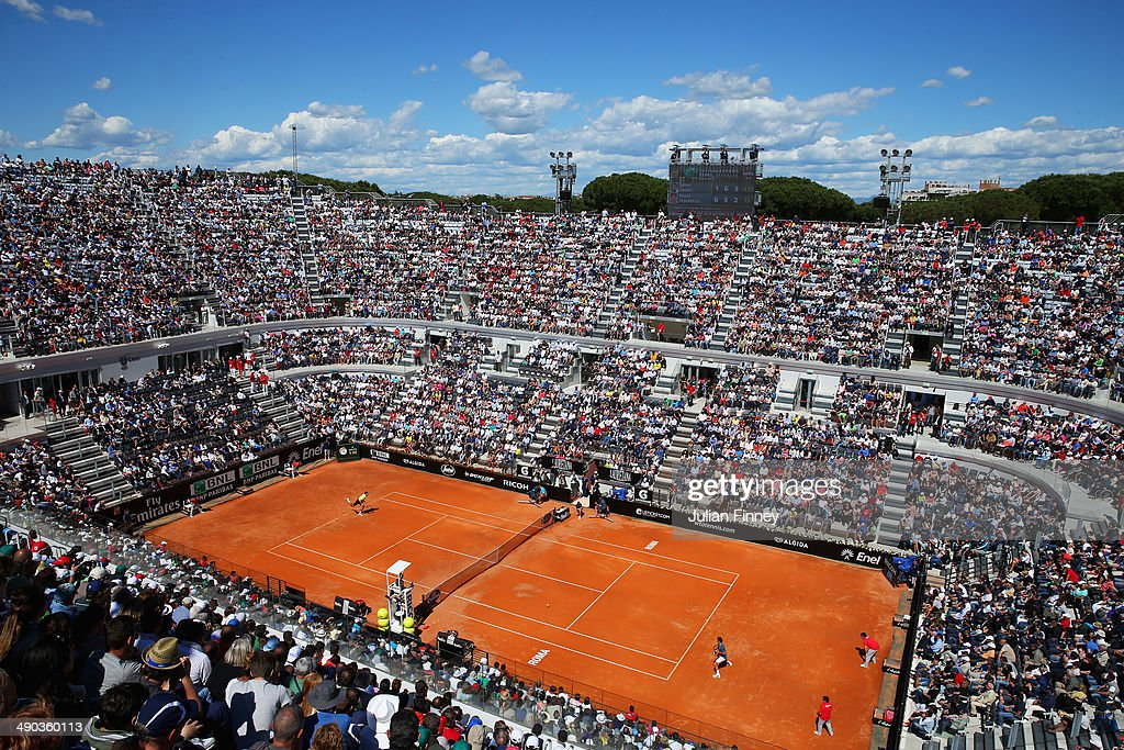 A general view of <a gi-track='captionPersonalityLinkClicked' href=/galleries/search?phrase=Roger+Federer&family=editorial&specificpeople=157480 ng-click='$event.stopPropagation()'>Roger Federer</a> of Switzerland playing in his match against <a gi-track='captionPersonalityLinkClicked' href=/galleries/search?phrase=Jeremy+Chardy&family=editorial&specificpeople=599085 ng-click='$event.stopPropagation()'>Jeremy Chardy</a> of France during day four of the Internazionali BNL d'Italia tennis 2014 on May 14, 2014 in Rome, Italy.