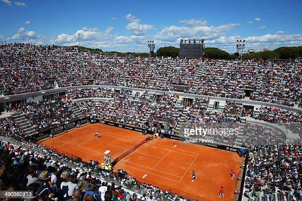 A general view of Roger Federer of Switzerland playing in his match against Jeremy Chardy of France during day four of the Internazionali BNL...
