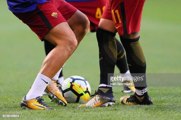 General view of Roma soccer players feet kicking a soccer ball prior to the International Champions Cup soccer game between Tottenham Hotspur and...