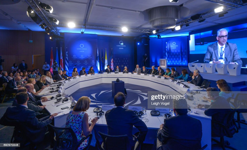 General view of roundtable discussions during the Concordia Europe Summit on June 6, 2017 in Athens, Greece.