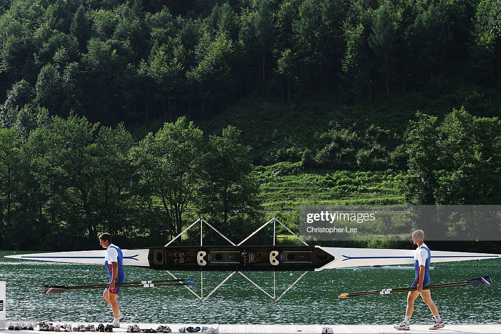 General view of rowers bringing their boat in after their practice session during the Bearing Point Rowing World Cup Day 2 on the Rotsee on July 9, 2005 in Lucerne, Switzerland.