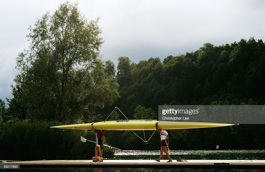 General View of rowers bringing their boats in after their practice session during the Bearing Point Rowing World Cup Day 2 on the Rotsee on July 9, 2005 in Lucerne, Switzerland.