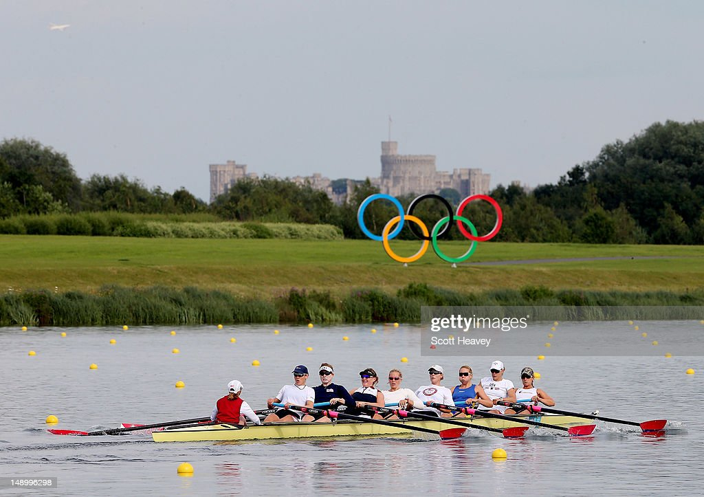 A general view of rowers on the rowing lake at Eton Dorney on July 21, 2012 in Dorney, near Windsor England.