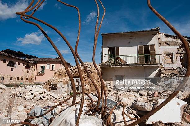 L'AQUILA ITALY APRIL 7 A general view of ruins that still remain in the historic village of Onna two years on from the April 6 2009 earthquake that...