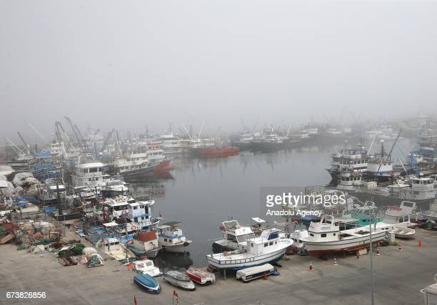 A general view of Rumelifeneri village of Istanbul during the foggy weather after a Russian warship sank off Turkeys Black Sea coast following...