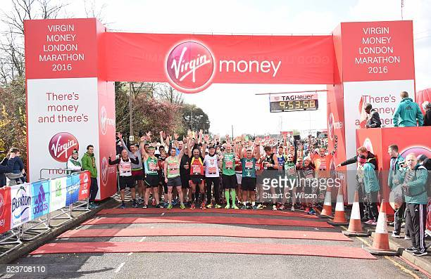 General view of runners at the 'Green Start' of the Virgin London Marathon 2016 on April 24 2016 in London England