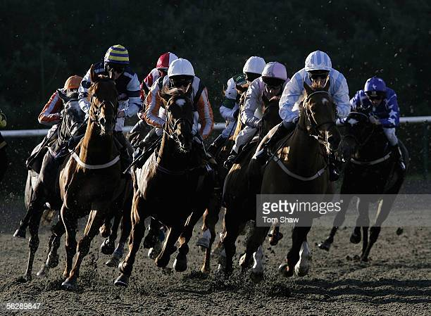 A general view of runners during the Play Instant Win Games at Betdirectcouk Novices Stakes during the meeting at Lingfield Park Racecourse on...