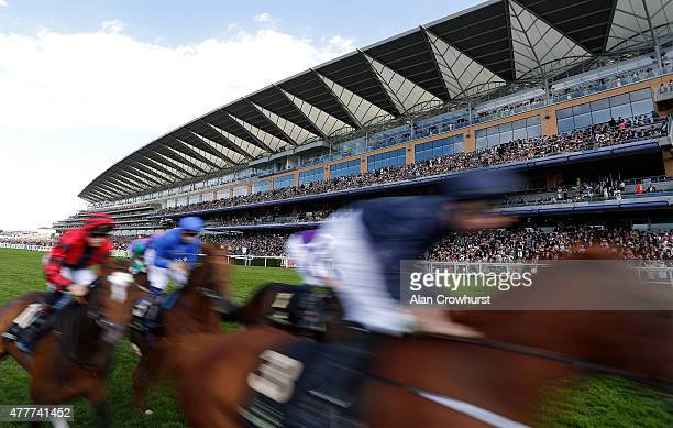 A general view of runners in The Queens Vase during Royal Ascot 2015 at Ascot racecourse on June 19 2015 in Ascot England
