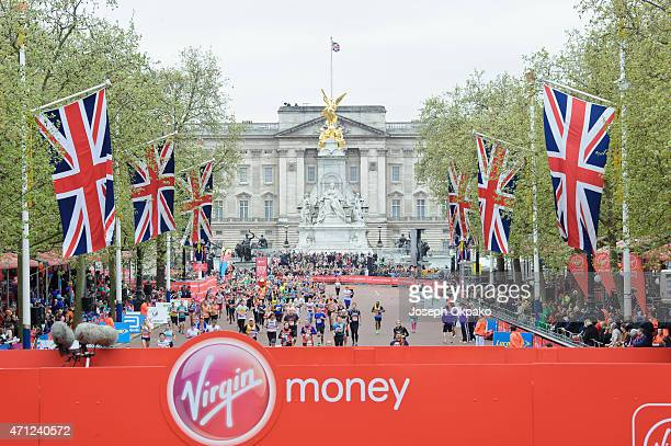 General view of runners on Pall Mallduring the London Marathon on April 26 2015 in London England