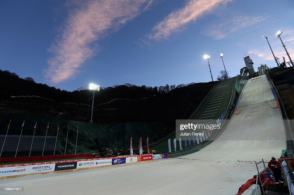 A general view of RusSki Gorki Ski Jump which will be used for the Ski Jumping event at the Sochi Winter Olympics 2014 during the FIS Ski Jumping World Cup at the RusSki Gorki venue on December 9, 2012 in Sochi, Russia.