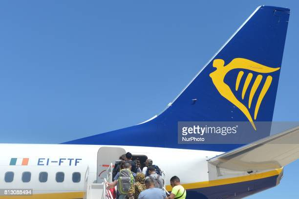 A general view of Ryanair plane at FesSais Airport located about 13 km from the city center of Fez On Friday June 30 in Fes Morocco