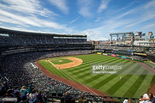 A general view of Safeco Field during a game between the Seattle Mariners and the Minnesota Twins on April 26 2015 in Seattle Washington The Twins...