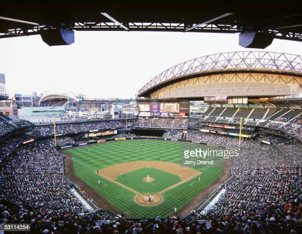 General view of Safeco Field from home plate upper deck level during a game between the Los Angeles Angels of Anaheim and the Seattle Mariners on May...