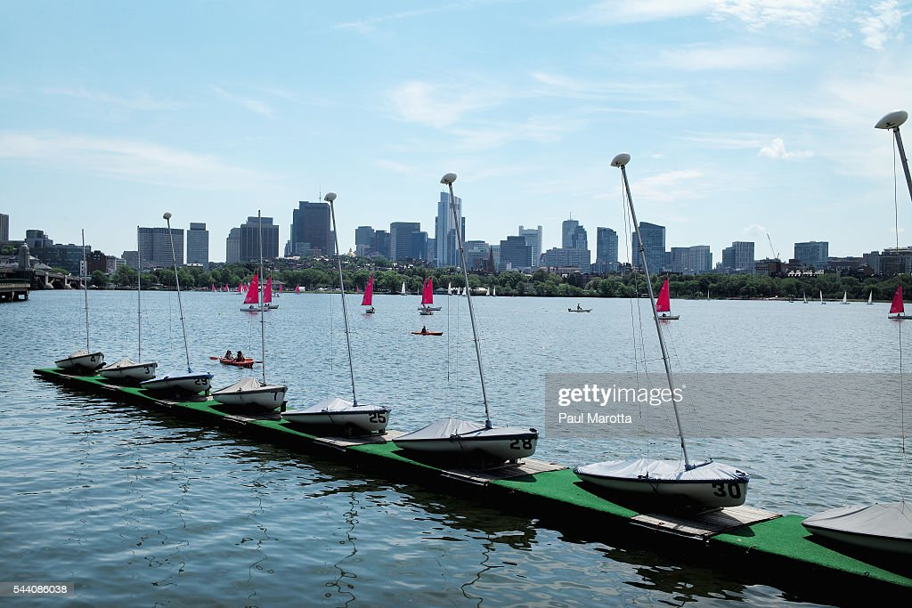 A general view of sailboats on the Charles River on July 1, 2016 in Boston, Massachusetts.