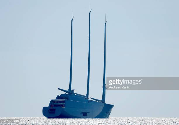 A general view of Sailing Yacht A the $450million 468ftlong vessel owned by billionaire Andrey Igorevich Melnichenko during the 70th annual Cannes...