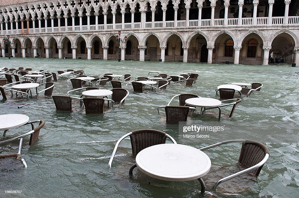 A general view of Saint Mark's Square on the side of the Doge Palace during the exceptional High Water on November 11, 2012 in Venice, Italy. More than 70% of Venice has been been left flooded, after the historic town was hit by exceptionally and unexpected high tide. The sea level rose very quickly to 150 due as well to strong southerly wind and heavy rain.