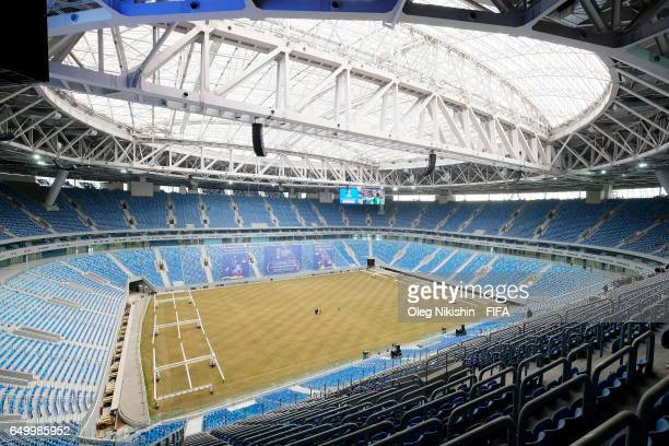 General view of Saint Peterburg stadium before ceremony 100 days to FIFA Confederations Cup Russia 2017 in Saint Petersburg Russia