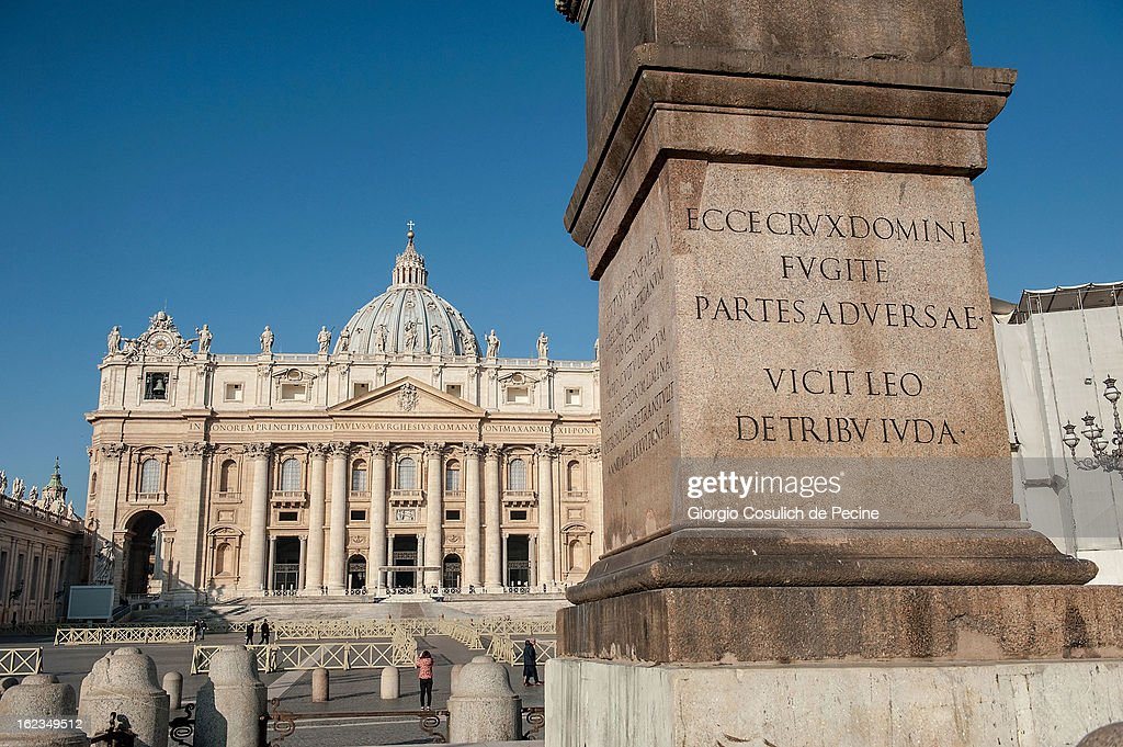 General view of Saint Peters' Basilica on February 19, 2013 in Vatican City, Vatican. Pope Benedict XVI will hold his last weekly public audience on February 27 at St Peter's Square after announcing his resignation earlier last week.