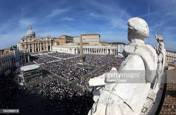 A general view of Saint Peter's Square during a mass held by Pope Francis on the occasion of the Marian Day on October 13 2013 in Vatican City...