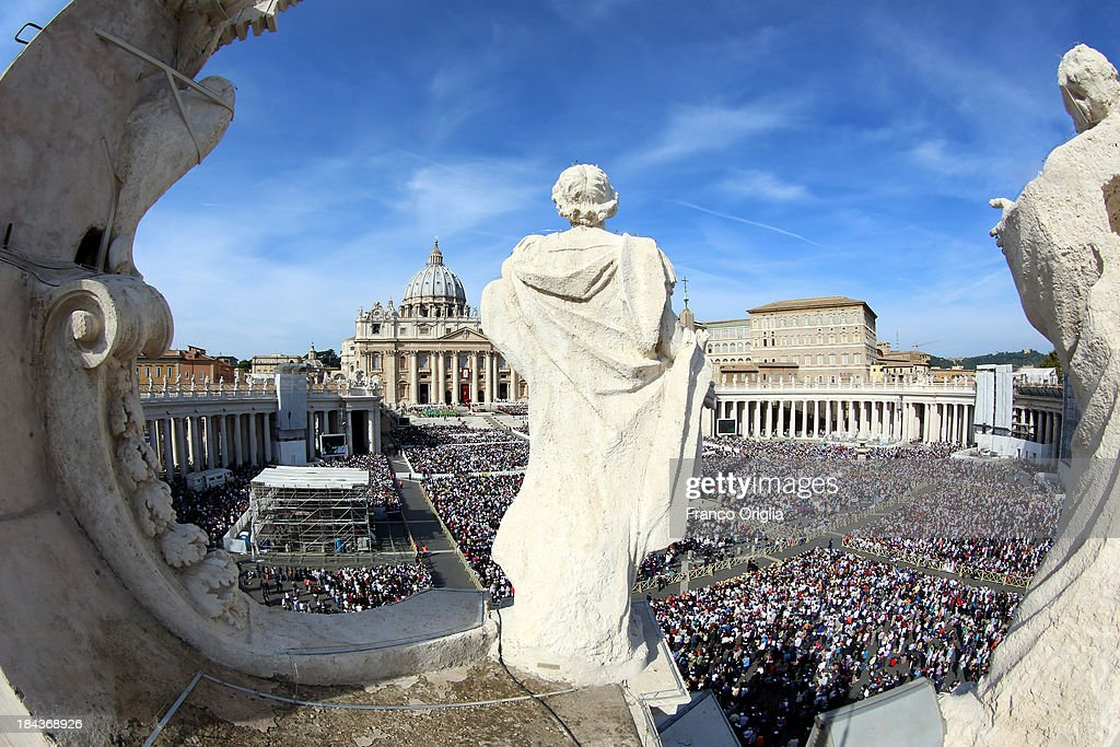 A general view of Saint Peter's Square during a mass held by Pope Francis on the occasion of the Marian Day on October 13, 2013 in Vatican City, Vatican. Pope Francis consecrated the world to the Immaculate Heart of Mary as part of Marian Day celebrations that will involve the statue of Our Lady of Fatima. The statue is normally kept in the Shrine of Fatima in Portugal but is in Rome this weekend for the consecration which is one of the highlights of the ongoing Year of Faith.