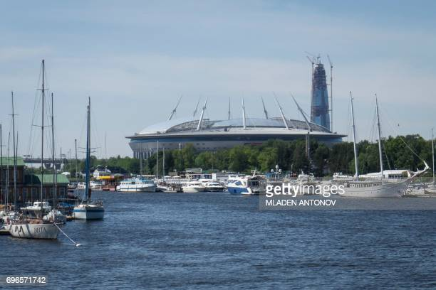 A general view of Saint Petersburg stadium is pictured on June 16 on the eve of the opening match of the Russia 2017 Confederation Cup football...