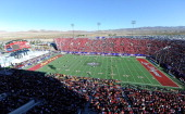 A general view of Sam Boyd Stadium as the Fresno State Bulldogs and the USC Trojans compete in the Royal Purple Las Vegas Bowl on December 21 2013 in...