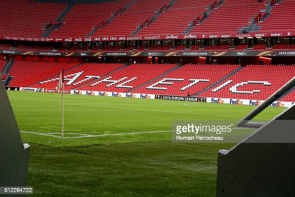 A general view of San Mames stadium before the UEFA Europa League Football round of 32 second leg match between Athletic Bilbao and Olympique de...