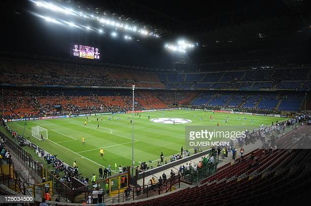 A general view of San Siro stadium before the qualifying round of the Champions League match between Inter and Trabzonspor on September 14 2011 in...