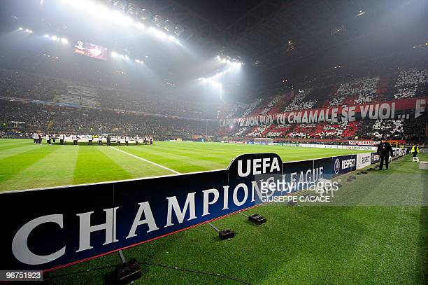 A general view of San Siro stadium prior the AC Milan vs Manchester United UEFA Champions League round of 16 match against Manchester United on...